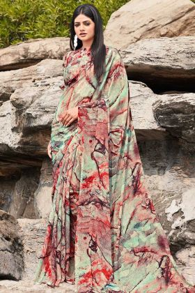 Multicolor Chiffon Casual Saree In Printed Work
