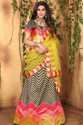 MultiColor Jari Satin Printed Lehenga Choli