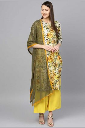 Multicolor Printed Palazzo Salwar Kameez With Rayon Bottom