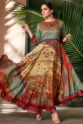 Multicolor Readymade Anarkali Gown In Beautiful Prints
