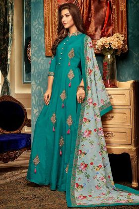 Muslin Designer Readymade Gown In Teal Blue Color