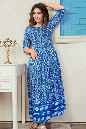 Muslin Anarkali Kurti Blue Color In Lining Pocket Pattern