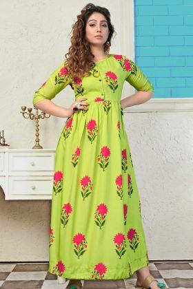 Muslin Anarkali Long Kurti Printed Design With Parrot Green Color