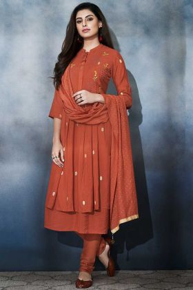 Muslin Churidar Salwar Kameez Resham Embroidery Work In Rust Orange Color