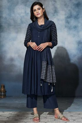 Muslin Churidar Salwar Suit Navy Blue Color With Coding Embroidery Work