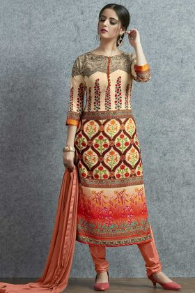 Muslin Cotton Churidar Dress Multi Color With Printed Work