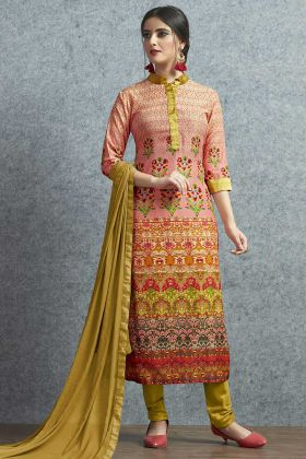 Muslin Cotton Churidar Salwar Suit Multi Color With Printed Work