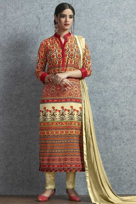 Muslin Cotton Churidar Salwar Suit Printed Work In Multi Color
