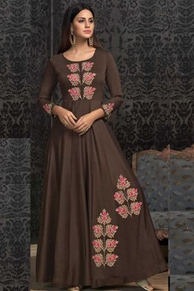 Muslin Dark Brown Party Wear Gown