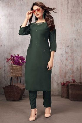Muslin Fancy Kurti Pine Green Color With Pant Set For Women