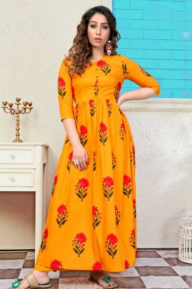 Muslin Festival Kurti Mustard Color With Printed Work