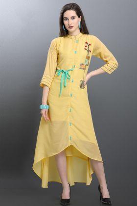 Muslin Light Yellow Fancy Kurti Online