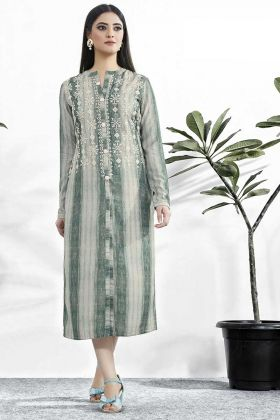 Muslin Printed Kurti Resham Embroidery Work In Grey Color