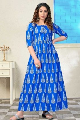 Muslin Printed Party Wear Kurti With Royal Blue Color