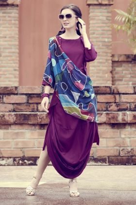 Muslin Purple Digital Printed Kurti With Scarf