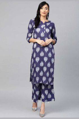 Muslin Readymade Kurti In Navy Blue Color Paired With Bottom