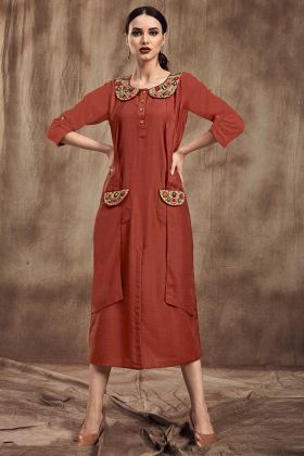 Muslin Rust Red Stylish Kurti In Pocket Pattern