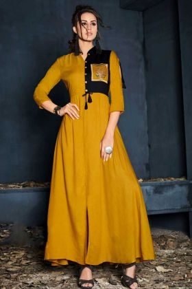 Musrurd Yellow Rayon Long Kurti