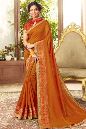Mustard Color Chanderi Silk Broad Bordered Plain Saree