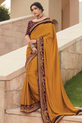 Mustard Color Fancy Stylish Saree For Special Look
