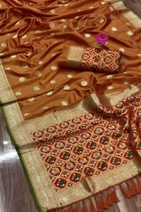 Mustard Color Kanchipuram Full Weaving Silk Saree For Haldi Rasam
