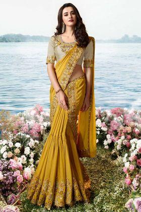 Mustard Pure Pandora Silk Fancy Saree For Wedding