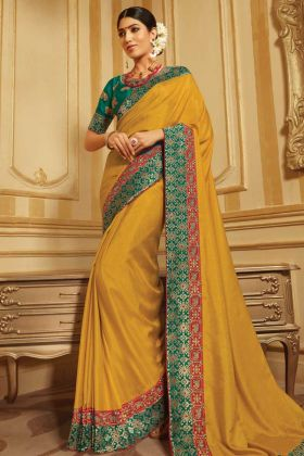 Mustard Raw Silk And Jacquard Latest Saree Design
