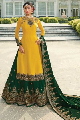 Mustard Satin Georgette Indo-Western Dress For Reception