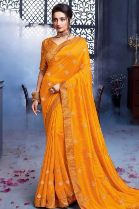 Mustard Yellow Art Silk Wedding Saree In Embroidery