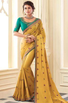 Mustard Yellow Color Satin Silk Saree With Heavy Work