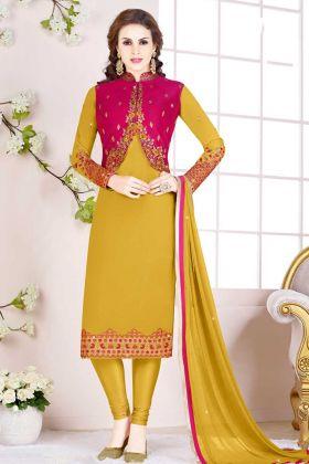 Mustard Yellow Georgette Jacket Style Salwar Suit