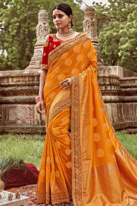 Mustard Yellow Jacquard Silk Designer Saree With Heavy Blouse