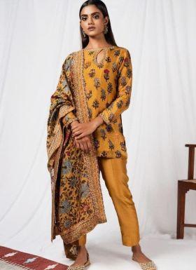 Mustard Yellow Salwar Suit With Beautiful Printed Dupatta