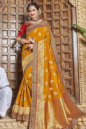 Mustard Yellow Satin Jacquard Silk Saree In Zari Work