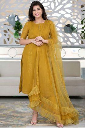 Mustard Yellow Shaurya Sanadhya Salwar Suit With Naylon Mono Net Dupatta