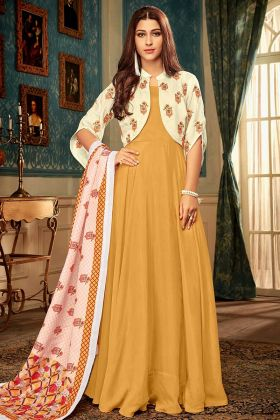Mustard Yellow Wedding Gown In Resham Embroidered Work