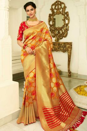 Mustard Color Banarasi Silk Banarasi Saree With Pearl Work
