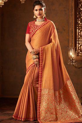 Mustard Color Banarasi Silk Saree