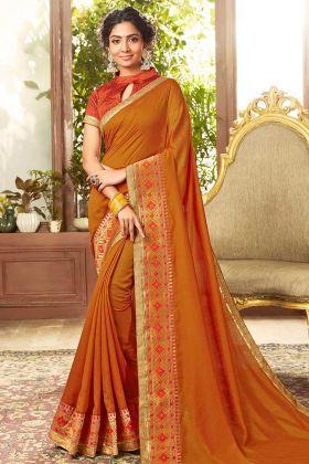 Mustard Color Chanderi Silk Designer Saree