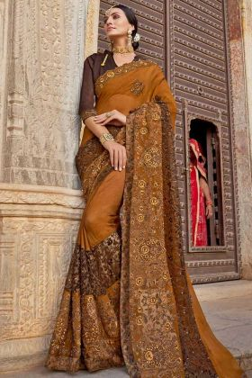 Mustard Color Chiffon Georgette Saree With Resham Embroidery Work