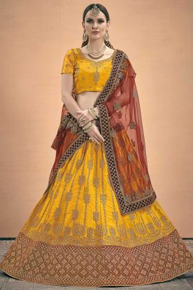 Mustard Color Dori Work Heavy Satin Designer Lehenga Choli