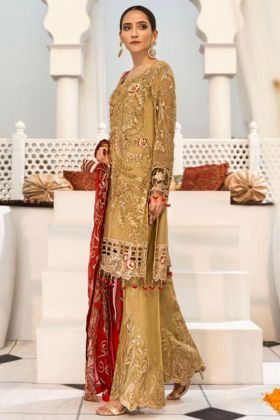 Mustard Color Heavy Faux Georgette Pakistani Suit With Embroidery Work