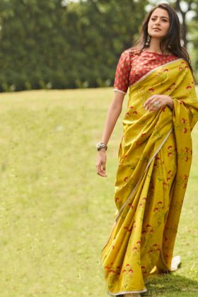 Mustard Color Printed Work Manipuri Silk Traditional Saree