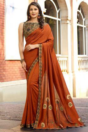 Mustard Color Printed Work Satin Silk Wedding Saree