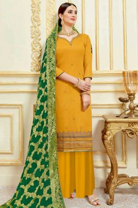 Mustard Color Pure Jam Satin Pakistani Dress With Embroidery Work