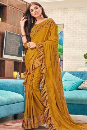 Mustard Color Soft Silk Ruffle Designer Saree
