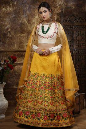 Mustard Party Wear Lehenga Choli In Thai Silk Fabric