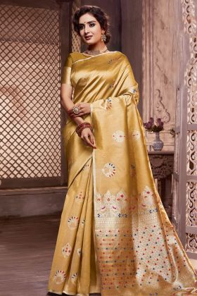 Mustard Silk Blend Weaving Saree
