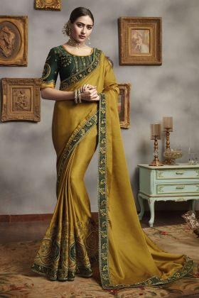 Mustard Silk Georgette Saree