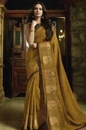 Mustard Silk Saree Online